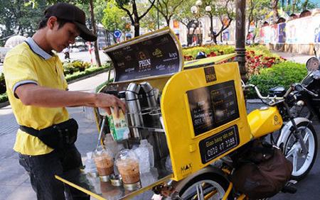 café, mang đi, xe máy, xe đạp, take away