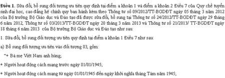 Cộng 2 điểm cho bà mẹ Việt Nam anh hùng thi ĐH