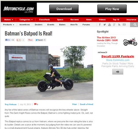 Xe Batman tự chế tại Việt Nam gây xôn xao báo nước ngoài