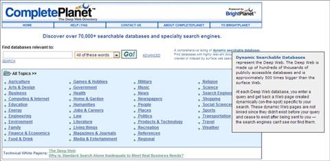 Google, tìm kiếm, Deep Web, Invisible Web