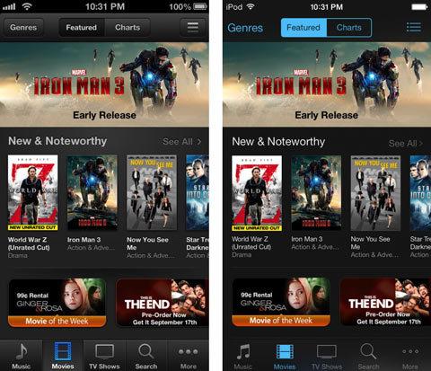 iOS 7, điểm mới, so sánh, hình ảnh, iOS 6, Apple, nâng cấp