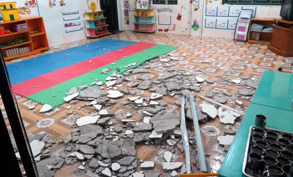 Sập tường mầm non, 6 học sinh bị thương