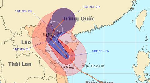 Bão Haiyan, vào Thái Bình - Hải Phòng, mạnh cấp 10