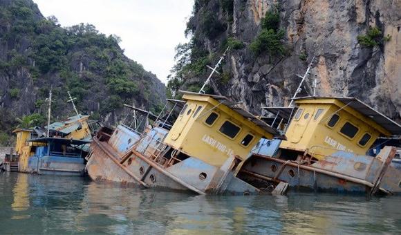 9 'tàu ma' vật vờ bên bờ di sản vịnh Hạ Long