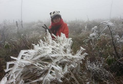 Lạnh âm 3 độ C, băng tuyết làm vỡ cửa kính ở Mẫu Sơn