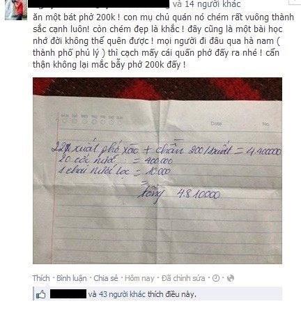 Bức ảnh chụp hóa đơn tính tiền phở bình dân ở Hà Nam khiến dân mạng bức xúc