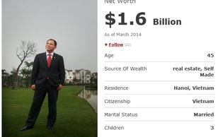 Ông Phạm Nhật Vượng có 1,6 tỷ USD: Tỷ phú đôla duy nhất Việt Nam