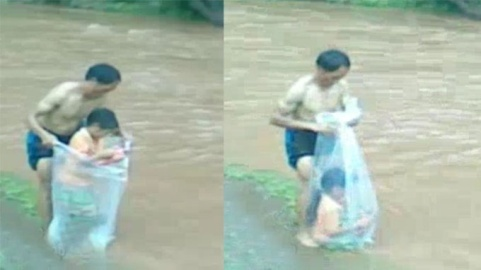 qua sông bằng túi nilon, vùng sâu vùng xa, cô giáo bản, chỉ có ở Việt Nam, lũ lụt, cầu cheo, Sam Lam, Điện Biên