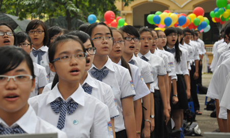 Quốc ca, hát, chào cờ, học sinh
