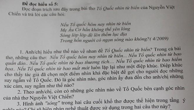 đề thi, môn văn, biển đảo, giàn khoan, TQ, trái phép, biển Đông, Chu Văn An