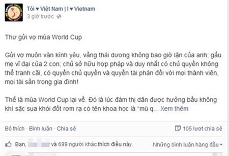 Worrld Cup, thư gử vợ, bóng đá, xem bóng đá