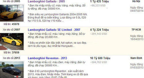 Siêu xe Lamborghini  rẻ như Camry tại Hà Nội