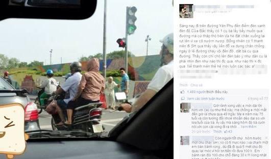 Bức ảnh thanh niên đi xe SH dẫn bà cụ qua đường gây tranh cãi