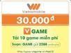 Vietnamobile: nạp thẻ 30.000 đồng, khuyến mãi 100%