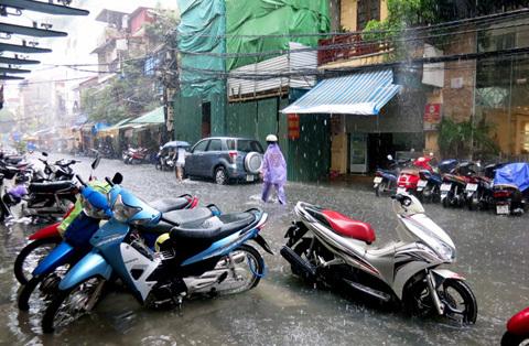 ngập, lụt, phố, Hà Nội, sông, mưa, Cầu Giấy