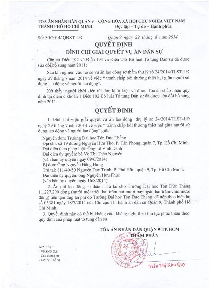 Đình chỉ  giải quyết án dân sự vụ kiện GS Nguyễn Đăng Hưng