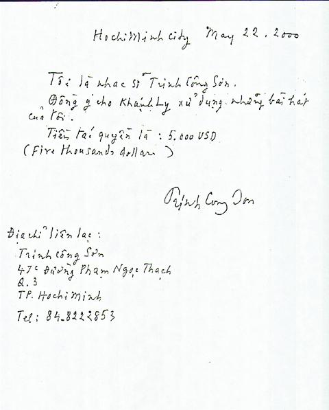 Khánh Ly, tác quyền, Trịnh Công Sơn, tranh cãi