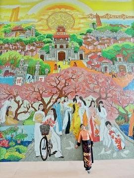 Bức tranh gốm cao nhất Việt Nam tại Hà Nội