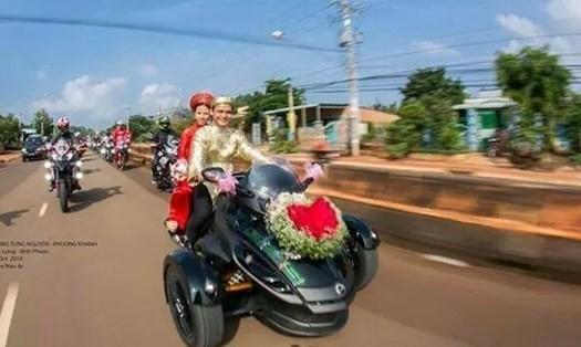đám cưới, mô tô, rước dâu, đám cưới, Bình Phước, chú rể