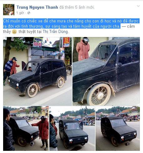 Người cha tự chế ô tô chở con đi học ở Nghệ An