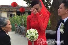 Cô dâu Lê Thúy nghẹn ngào trong lễ rước dâu