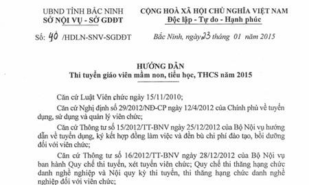 Bắc Ninh, tuyển dụng, giáo viên, phỏng vấn, Bộ Nội vụ, thi tuyển