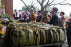 Dâng cặp bánh chưng nặng 7 tạ tại mộ bà Hoàng Thị Loan