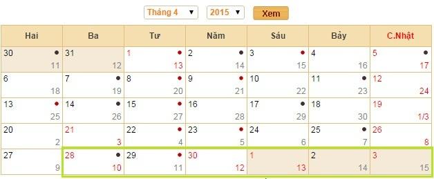 6 ngày, Giỗ tổ Hùng Vương, 30/4, 1/5, hoán đổi