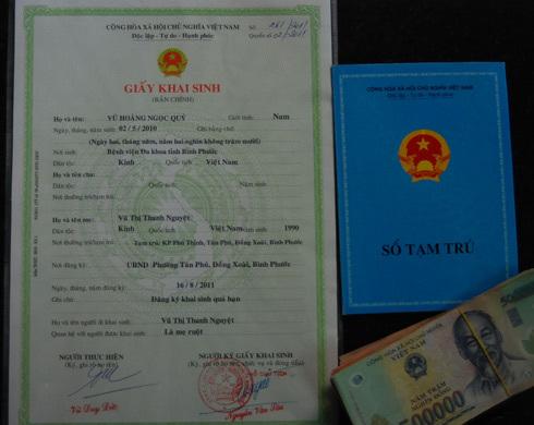 chứng minh thư, sổ hộ khẩu, giấy khai sinh