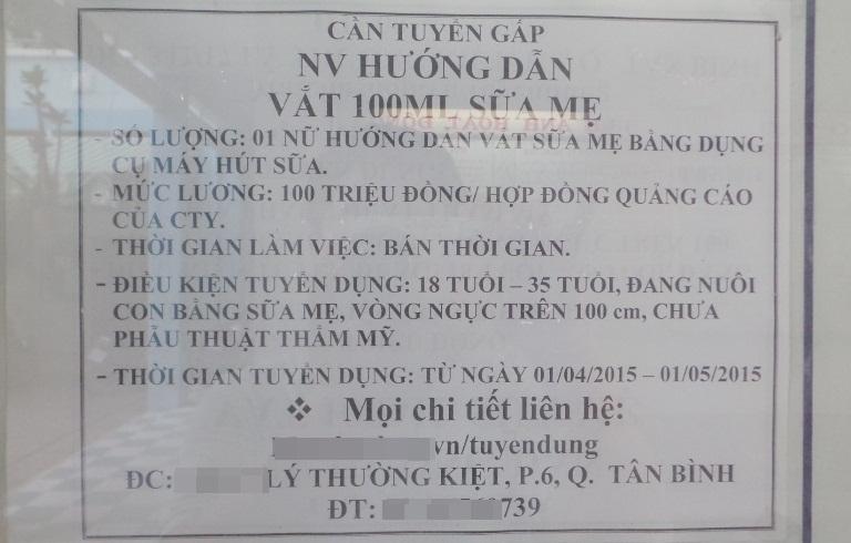 Sài Gòn: Tuyển phụ nữ ngực khủng trên 100cm, lương 100 triệu
