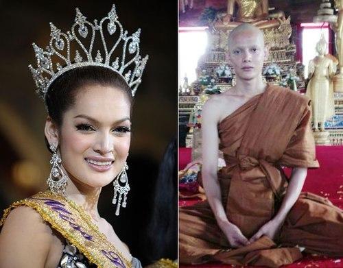 Vương Dự Lâm, Bích Liên, hoa hậu Thái Lan, xuống tóc, đi tu