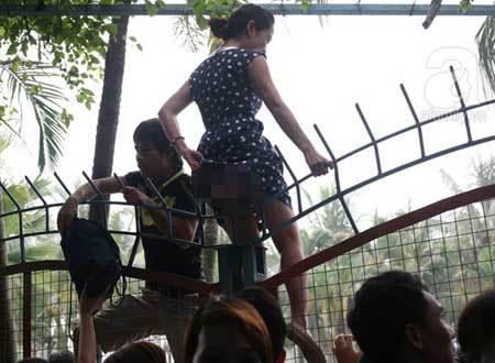 Vỡ trận công viên nước: Thi nhau vượt rào, rách cả nội y