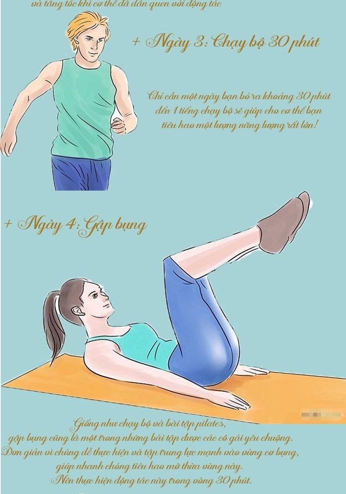 5 ngày giảm mỡ bụng với những bài tập cực đơn giản