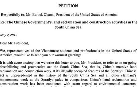 Du học sinh VN gửi thỉnh nguyện thư đến Obama