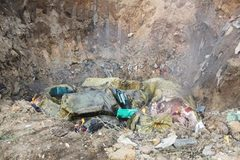 Đánh cắp 1 tấn nầm lợn thối vừa tiêu hủy ở bãi rác