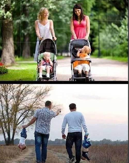 """Chùm ảnh cười """"rung rốn"""" với sự khác biệt khi mẹ và bố chăm con"""