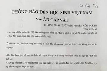 Trường Nhật cảnh báo học sinh Việt về ăn cắp vặt
