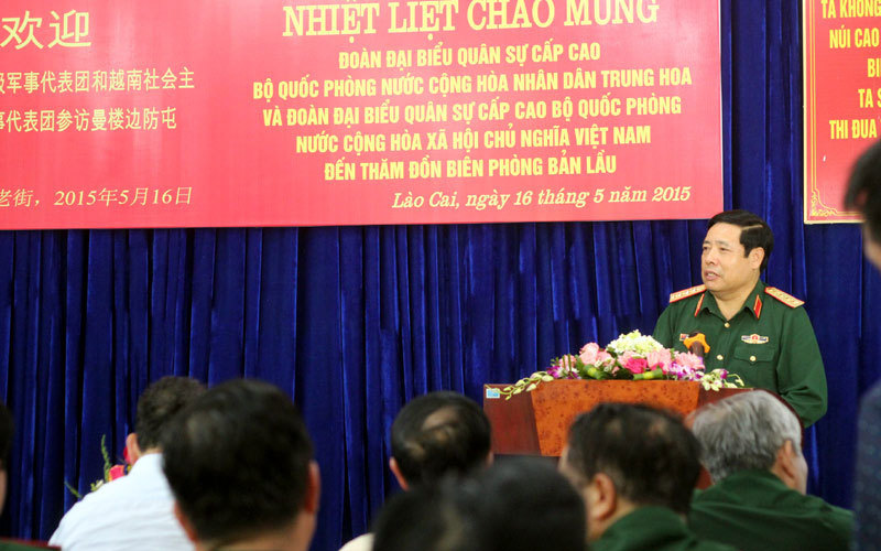 Bộ trưởng Quốc phòng Việt-Trung thăm đồn biên phòng Bản Lầu