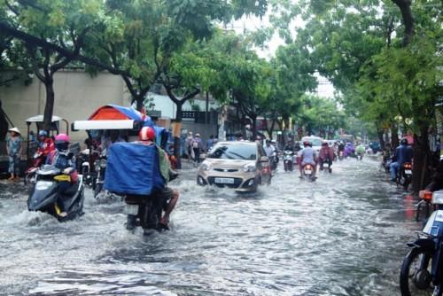 Người dân Sài Gòn rùng mình lội nước thối sau mưa - 1