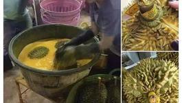 Thực hư sầu riêng Thái Lan tẩm chất nhuộm vàng