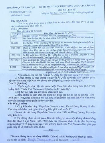 Đề thi chính thức môn Lịch sử