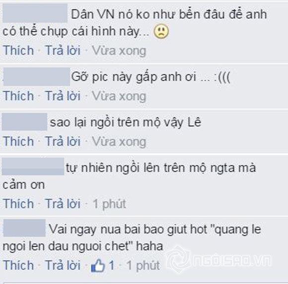 Quang Lê bị chỉ trích khi ngồi lên mộ nhạc sĩ quá cố