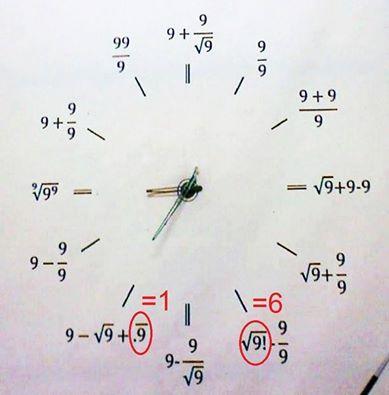 đồng hồ công thức Toán, đồng hồ số 9