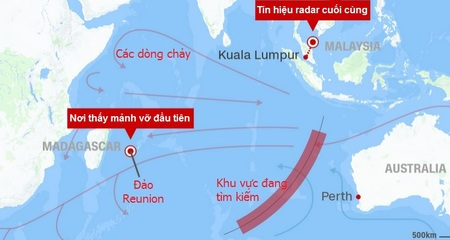 Các mảnh vỡ MH370 trôi theo hướng nào?
