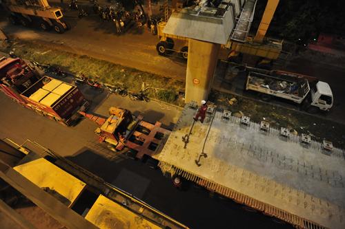 nửa đêm, lắp đặt, cẩu trục, đường sắt trên cao, Cát Linh - Hà Đông